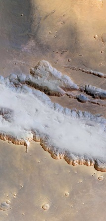 Fog at the bottom of the 4,000km long & 6.5 km deep canyon on Mars.