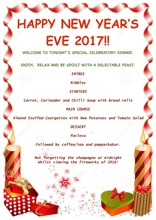 New Year's Eve Menu 2017